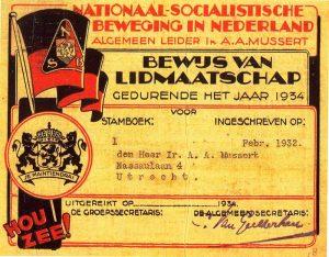 """""""Musserts lidmaatschapskaart"""" by Original uploader was Willem Huberts at nl.wikipedia -"""